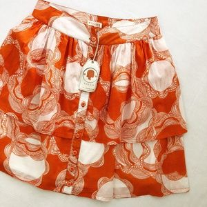Tulle Button-Down Abstract Floral Mini Skirt, NWT